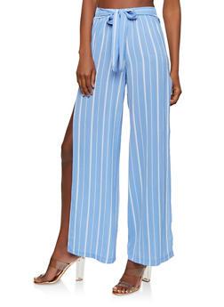 Printed Crepe Knit Palazzo Pants - BLUE - 1407056574296