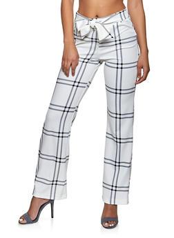 Plaid Tie Waist Wide Leg Dress Pants - 1407056574366