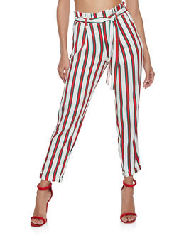 Belted Striped Paper Bag Waist Pants - 1407056574368