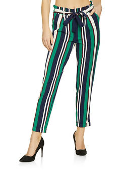 8bcf2c5c2e Belted Striped Paper Bag Waist Pants - 1407056574368