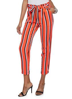 Belted Striped Paper Bag Waist Pants - 1407056574368
