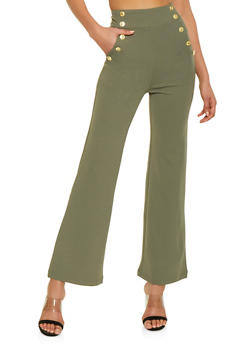 Flared High Waisted Sailor Pants - 1407056574369