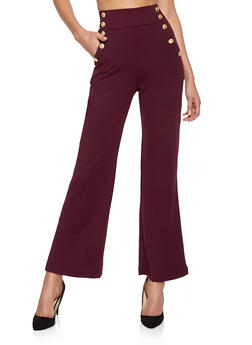 Flared High Waisted Sailor Pants - 1407056574369