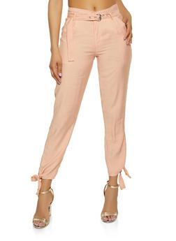 Belted Tie Hem Pants - 1407056574454
