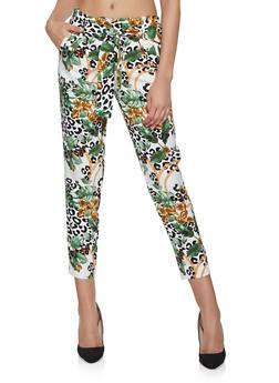 Printed Tie Waist Pants - 1407056574495