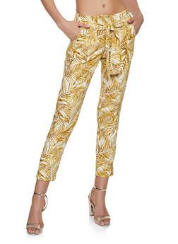 Printed Tie Front Pants - 1407056574502