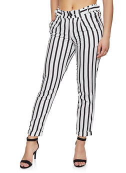 Striped Linen Belted Waist Pants - 1407056574721