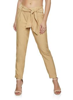 Linen Tie Waist Pants - 1407056575222