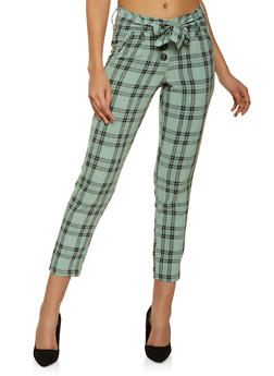 Belted Plaid Pants - 1407056578534