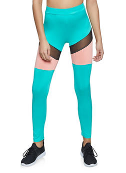 Mesh Insert Color Block Spandex Leggings - 1407058751160