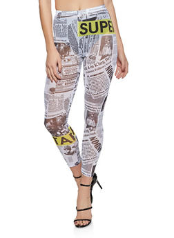 Mesh Newspaper Print Leggings - 1407058751663