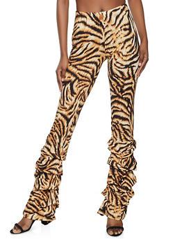 Ruched Zebra Pants - 1407058751708