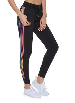Rainbow Striped Tape Joggers - 1407063401593