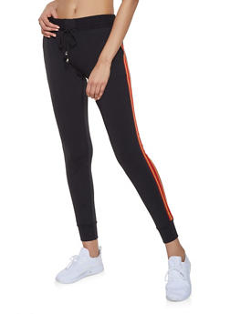 Striped Tape Detail Joggers - 1407063401595