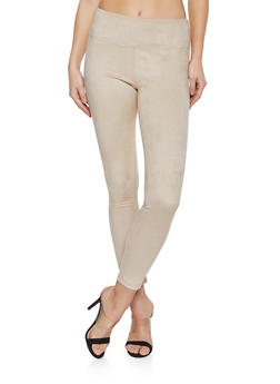 Faux Suede Pull On Pants - 1407068193025