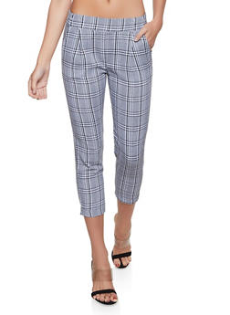 Plaid Fixed Cuff Dress Pants - 1407068193095