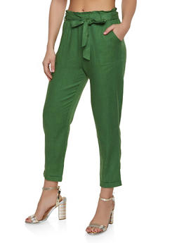 Linen Paper Bag Waist Trousers - 1407068193263