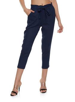 Linen Paper Bag Waist Trousers - 1407068193263