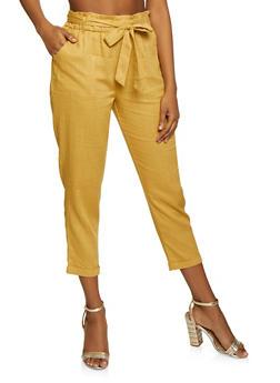 Linen Paper Bag Waist Trouser - 1407068193263