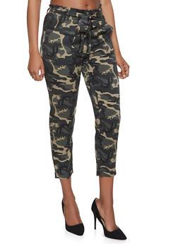 Camo Paper Bag Waist Pants - 1407068193268