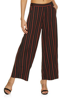 Pull On Striped Palazzo Pants - 1407068193276