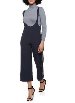 Lurex Tape Trim Suspender Pants - 1407068197200