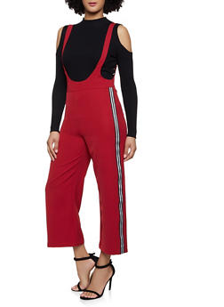 Lurex Tape Trim Suspender Pants - 1407068197200