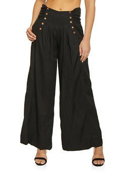 Tie Back Linen Palazzo Pants - Black - Size S - 1407068197220