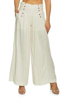 Tie Back Linen Palazzo Pants - 1407068197220