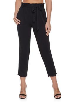 Tie Waist Pull On Pants - 1407068197286