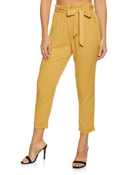 Tie Waist Pull On Pants - 1407068197286