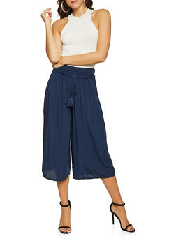 Smocked Waist Crinkle Knit Gaucho Pants - 1407068197290