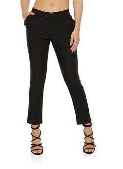 Solid Stretch Pants with Pockets - BLACK - 1407068511640