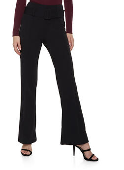 Crepe Knit Pintuck Flared Pants - Black - Size M - 1407068511708