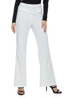 Crepe Knit Pintuck Flared Pants - 1407068511708