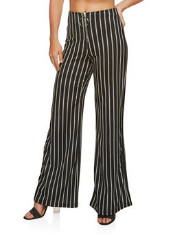 Metallic O Ring Striped Palazzo Pants - 1407068517839