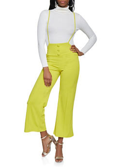 Wide Leg Suspender Pants - 1407068519338