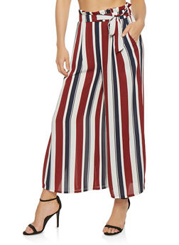 Striped Paper Bag Waist Palazzo Pants - 1407069390283