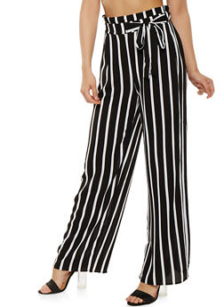 Striped Tie Front Pants - 1407069390286