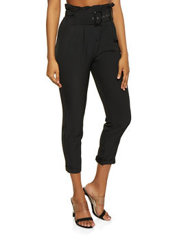 Belted Paper Bag Waist Trousers - 1407069390387