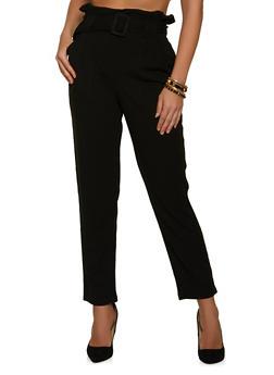 Belted Paper Bag Waist Dress Pants - 1407069390527