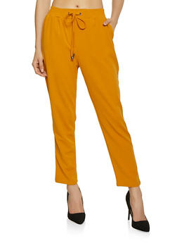 Drawstring Waist Crepe Knit Dress Pants - 1407069390603