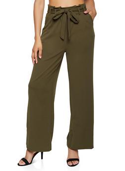 Tie Paper Bag Waist Wide Leg Pants - 1407069390636