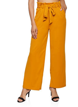 Tie Paper Bag Waist Wide Leg Pants - 1407069390636