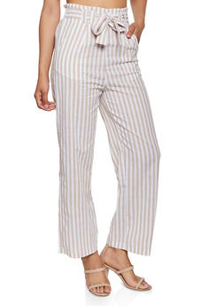 Striped Tie Front Wide Leg Pants - 1407069390691
