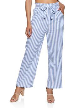 Striped Tie Front Wide Leg Pants - 1407069390691