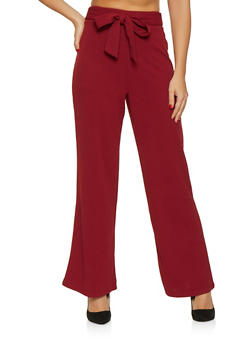Tie Front Crepe Knit Palazzo Pants - 1407069390710