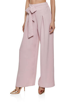 Pleated Tie Front Palazzo Pants - 1407069390748