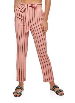Striped Tie Waist Dress Pants - 1407069393013