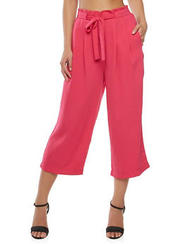 Tie Waist Cropped Palazzo Pants - 1407069393123